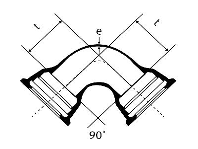 Desenho técnico Curva 90 com Bolsas JGS