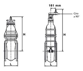 Desenho técnico válvula com flanges e cunha metálica