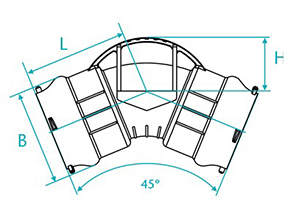 Technical drawing Curve of 45 with bags for PBA PVC pipes
