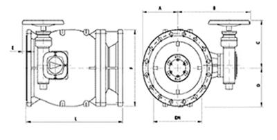 Desenho técnico Válvula de Fluxo Anular Manual