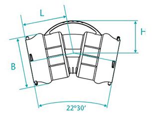 Dibujo técnico Curva de 22 con bolsas para tubos PVC PBA