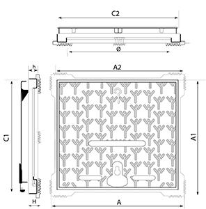 Dibujo técnico tapón para acera Akses