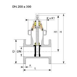 Dibujo técnico válvula Euro 22 DN 200 a 300