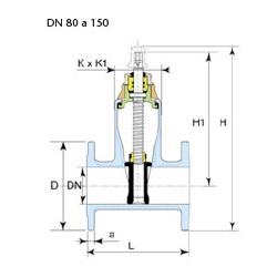 Dibujo técnico válvula Euro 22 DN 80 a 150