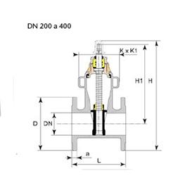 Dibujo técnico válvula Euro 23 DN 200 a 300