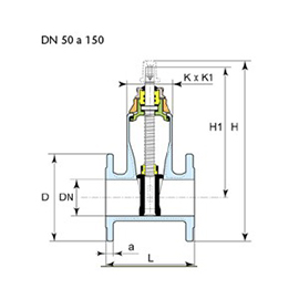 Dibujo técnico válvula Euro 23 DN 50 a 150