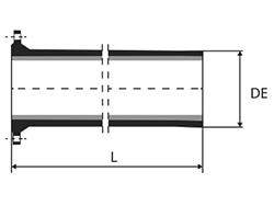 Dibujo técnico Tubo brida  punta con o sin aba de vedación