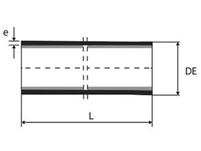 Dibujo técnico Tubo punta punta con o sin aba de vedación