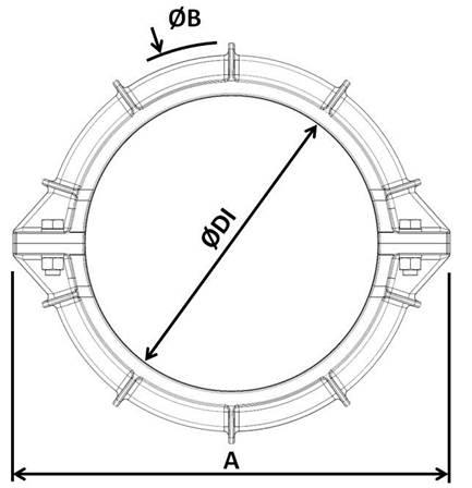 Desenho técnico Contra Flange Bipartido