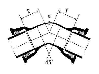 Desenho técnico Curva 45 com Bolsas JTI