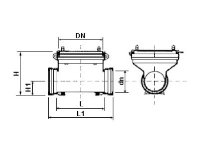 Desenho técnico Tê de visita DN400
