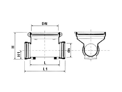 Desenho técnico Tê de limpeza DN400