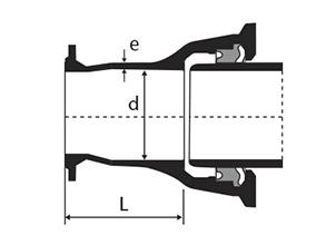 Desenho técnico Extremidade Flange e Bolsa JTI
