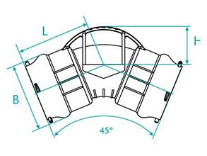 Desenho técnico Curva de 45 com bolsas para tubos PVC PBA