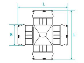 Desenho técnico Cruzeta com bolsas para tubos PVC PBA
