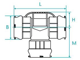 Desenho técnico Tê com bolsas para tubos PVC PBA