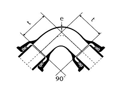 Desenho técnico Curva 90° com Bolsas JTI