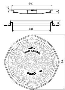 Desenho técnico tampão para estacionamento Paisagem