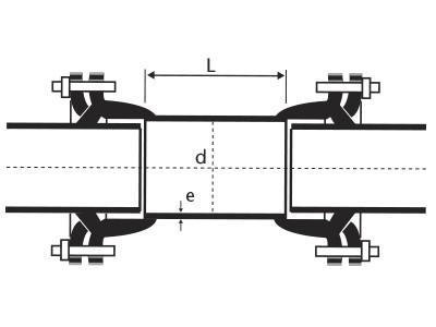 Desenho técnico Luva de Correr com Bolsa Junta Mecânica