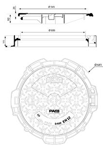 Desenho técnico tampão para táfego pesado Korumax