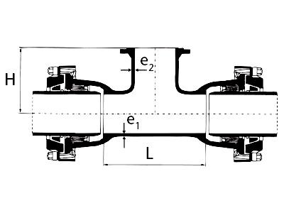 Desenho técnico Tê com Bolsas JTE e Flange