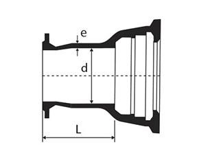 Desenho técnico Extremidade Flange e Bolsa JGS