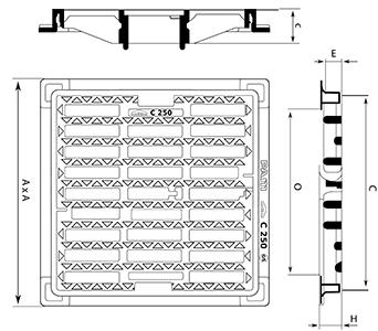 Desenho técnico grelha para estacionamento Squadra