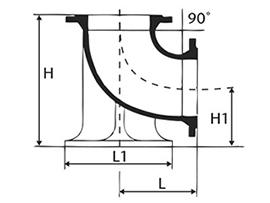 Desenho técnico Curva de 90 com Flanges e Pé