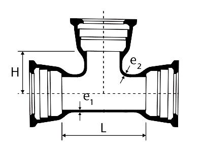 Desenho técnico Tê com Bolsas JGS