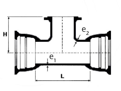 Desenho técnico Tê com Bolsas JGS e Flange