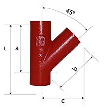 Desenho técnico Junção  de 45 SMU