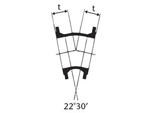 Desenho técnico Curva de 22 com Flanges