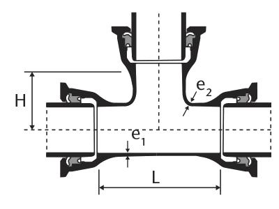 Desenho técnico Tê com Bolsas JTI
