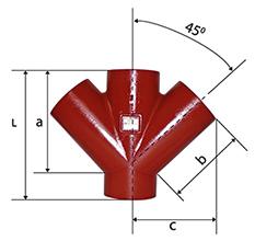Desenho técnico Junção Dupla  de 45 SMU