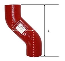 Desenho técnico Desvio de 75mm