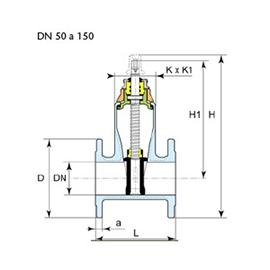 Desenho técnico válvula Euro 23 DN 50 a 150